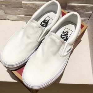 Vans White Classic Slip On Womens 5.5 Mens 4